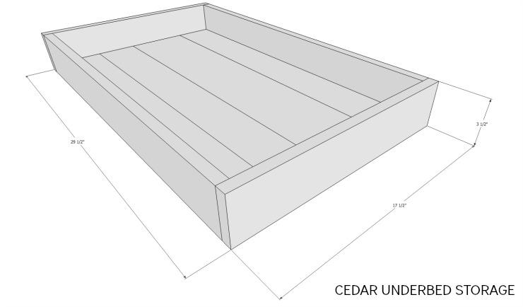 cedar underbed storage dimensions