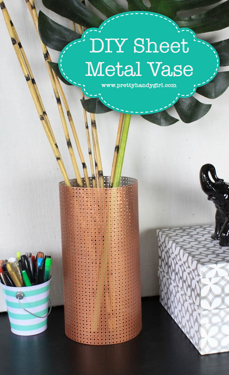 Decorative sheet metal and spray paint are all you need to upgrade that boring glass vase! | DIY flower vase | Pretty Handy Girl #prettyhandygirl #DIY #craft