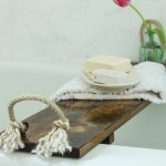 Rustic Wood Bathtub Tray