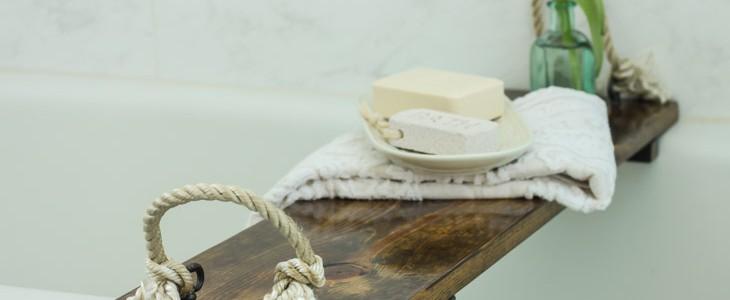 Rustic Wood Bathtub Tray