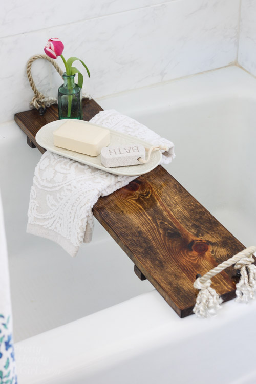 Rustic Wood Bathtub Tray | Pretty Handy Girl