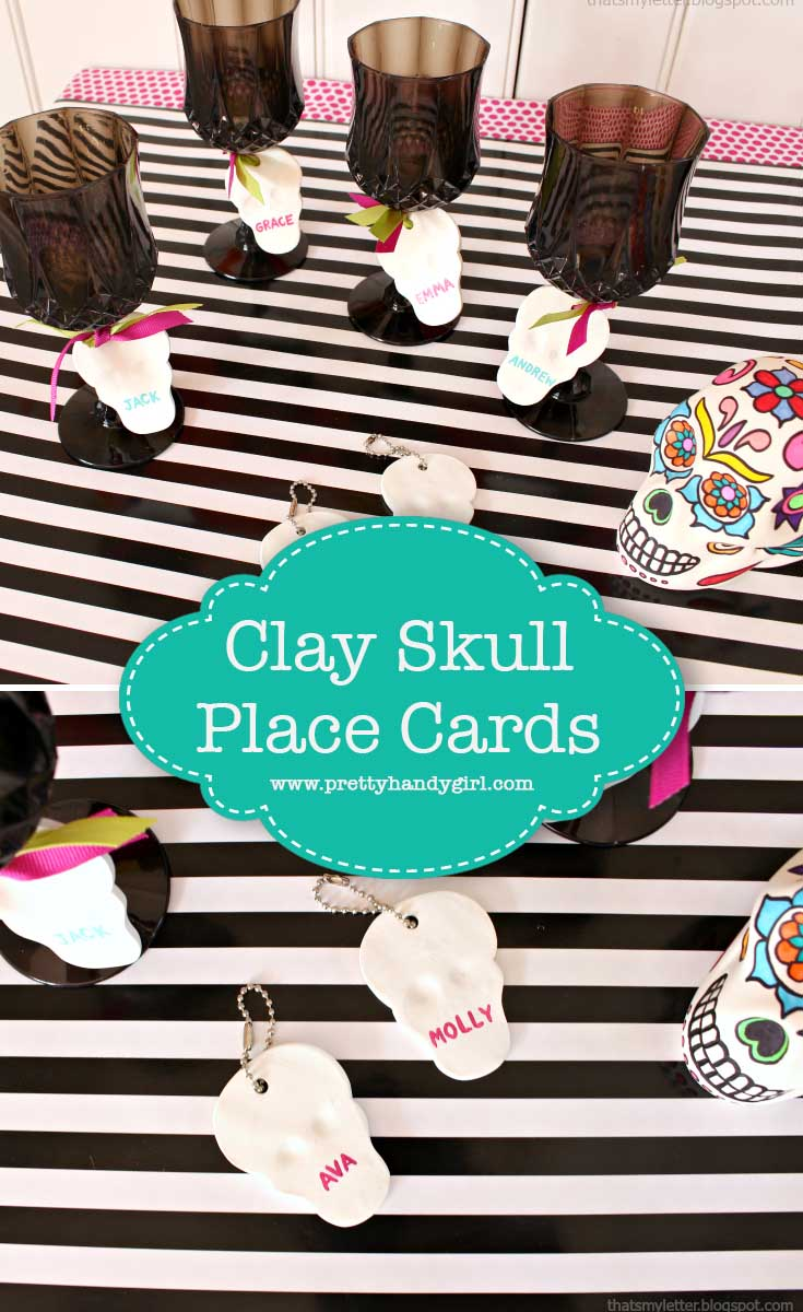 These easy DIY skull placecards are the perfect addition to your Halloween party!   Pretty Handy Girl #prettyhandygirl #seasonal #party #craft #DIY