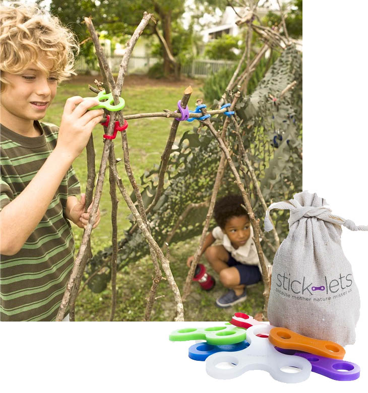 Stick-lets | Make forts and structures using the stick-lets connectors and sticks.