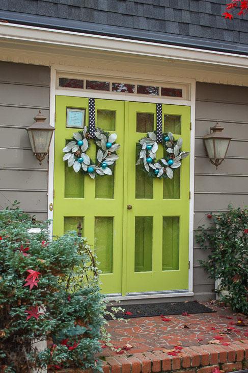 double-wood-front-doors-storm-doors-lime-green