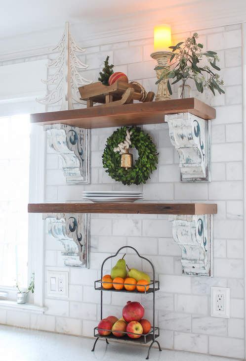 open-wood-shelves-kitchen-holiday-decorated
