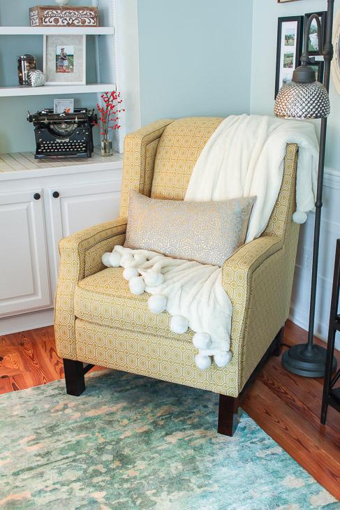 wingback-yellow-chair-metallic-lumbar-pillow-metallic