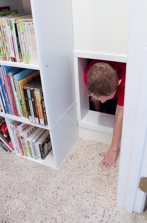 Childrens' Closet Library with Secret Pass Through | Pretty Handy Girl