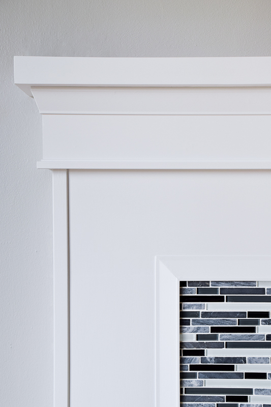 This architrave trim fit perfectly under our fireplace mantel, and the scraps will be turned into a DIY candle lantern.