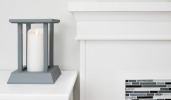 My candle lantern and fireplace mantel are made with the same trim!