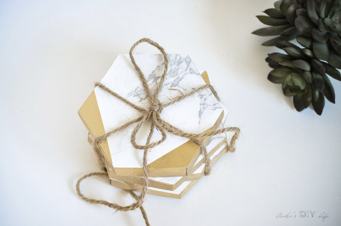 Hostess Gift Ideas - Gold and Marble Coasters