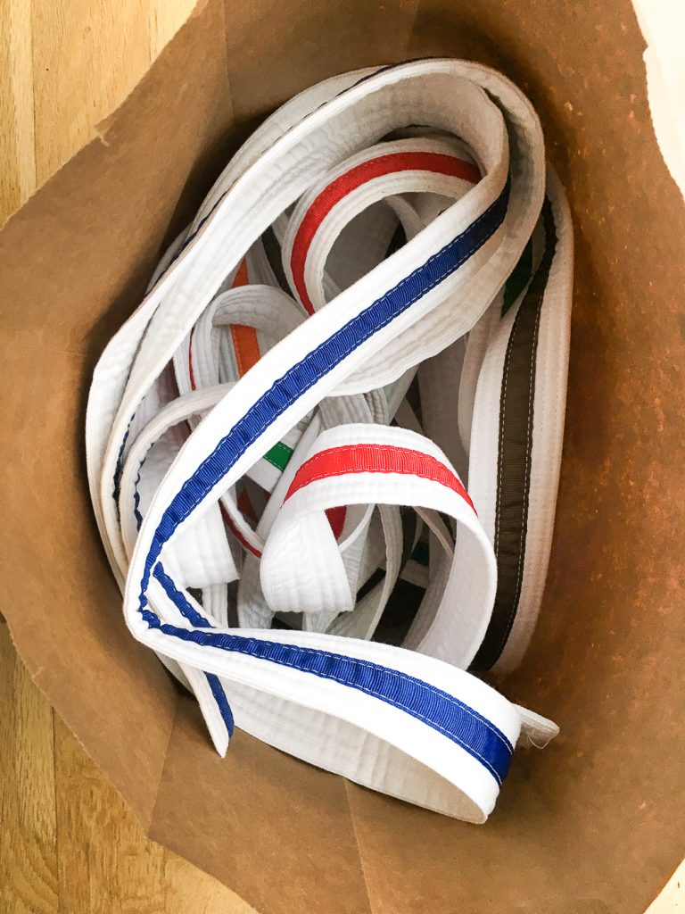 This bag o' belts wasn't exactly the best way to display karate belts.