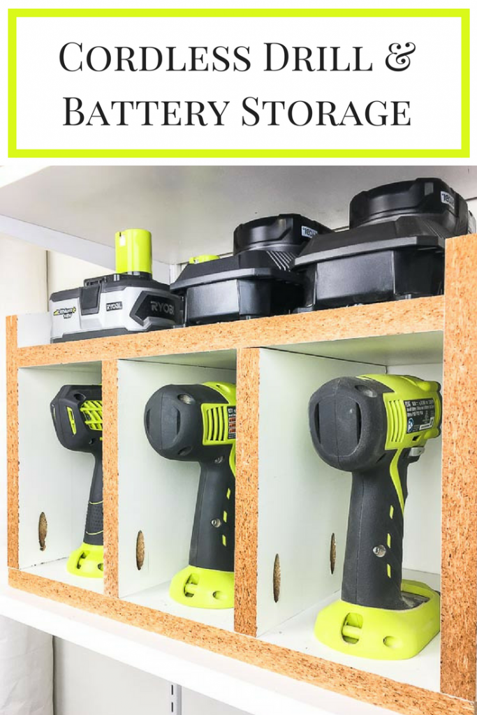 Keep all your drills and batteries in one place with this easy to make cordless drill storage box!