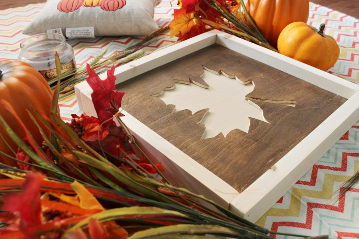 Fall leaf sign from scrap wood
