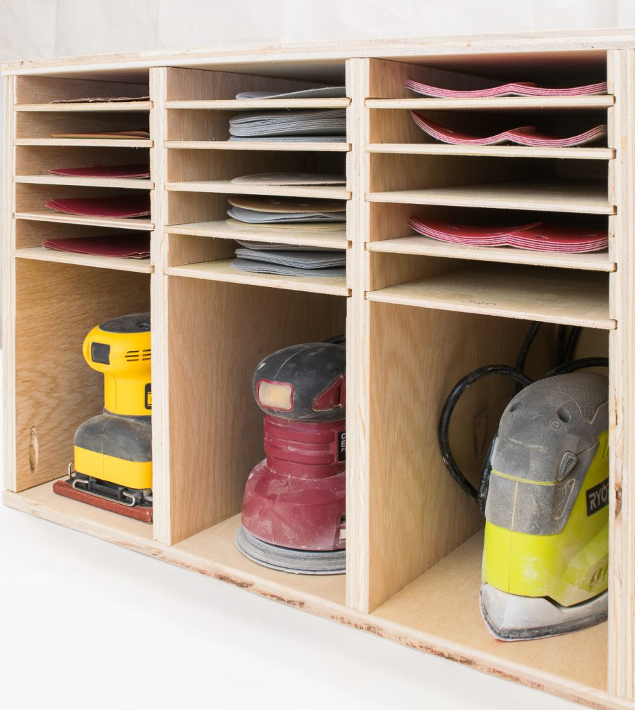 Get the plans to build this sander and sandpaper storage unit at The Handyman's Daughter!