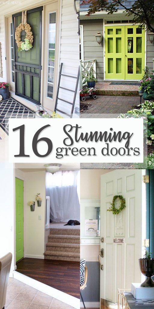 16 Stunning Green Doors - Pinterest image