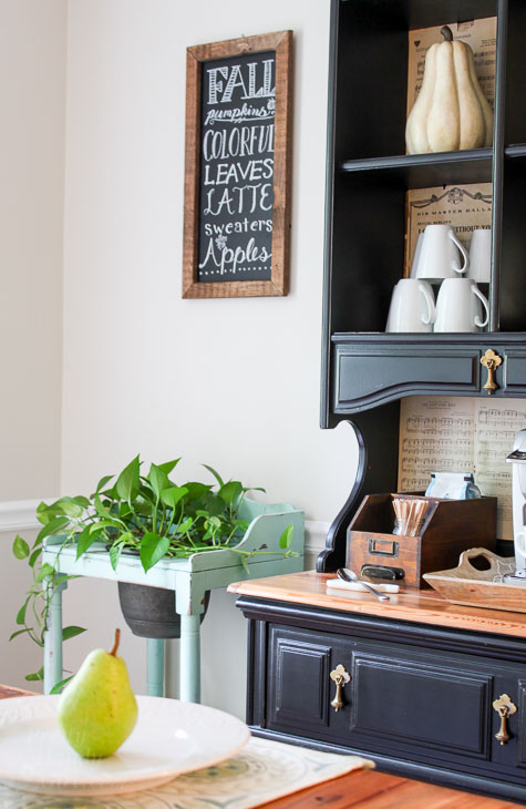 Coffee station with rustic farmhouse feel.