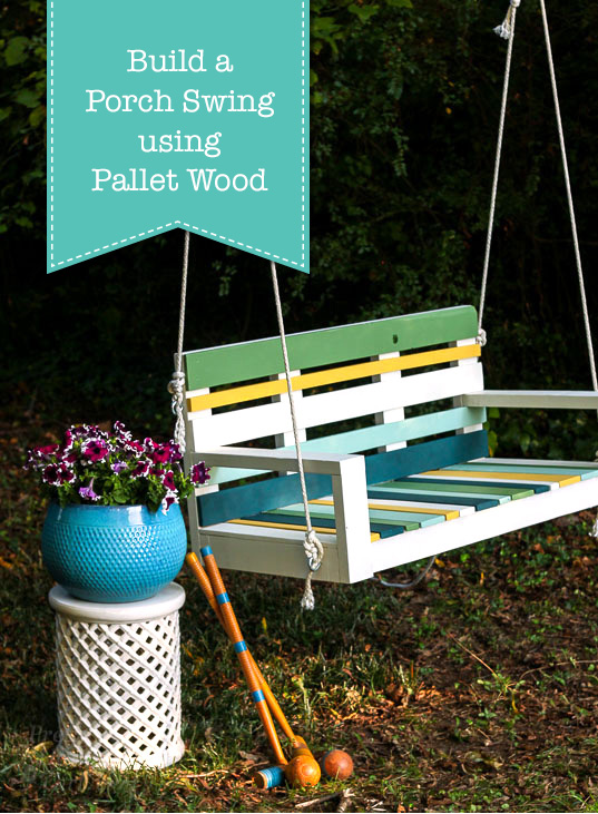 Build a Striped Porch Swing using Pallet Wood and Krazy Glue! Can it be done? See for yourself! Free building plans. #ad #KrazyGlue