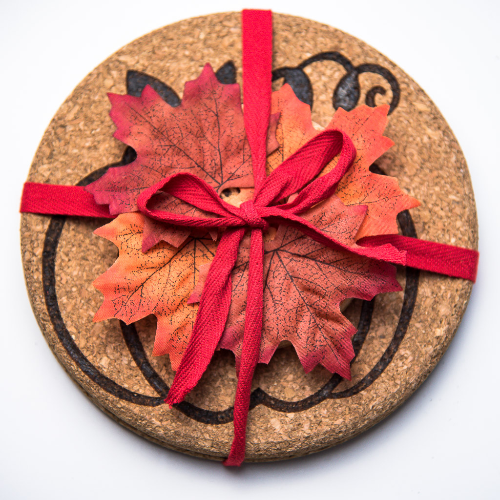 Wrap up your Thanksgiving themed trivets and coasters as a hostess gift!