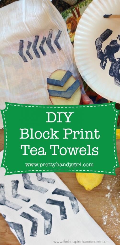 white tea towel with paint block print