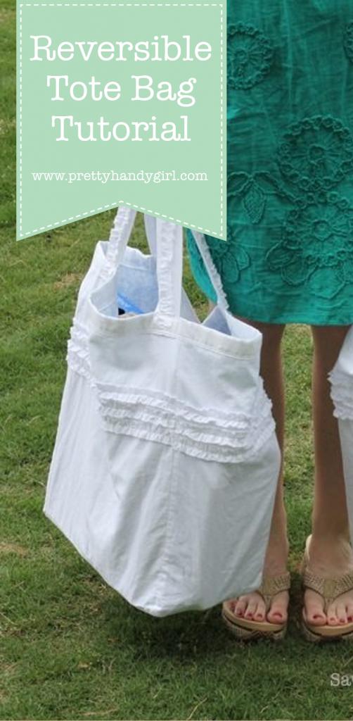 DIY reversible white tote bag