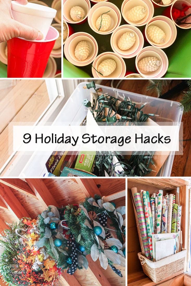 9 Holiday Storage Hacks to help you store your holiday decorations for next year without wasting time and space!