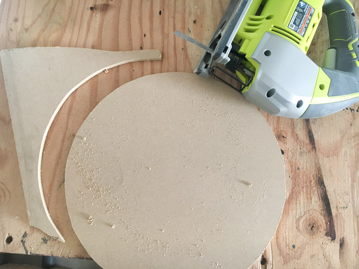 Cutting out the clock face for DIY wall clock