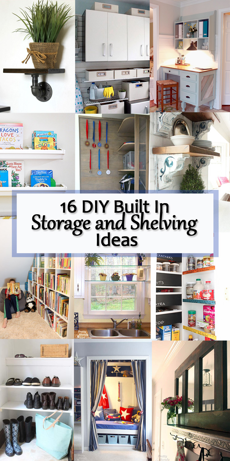 16 DIY Built In Storage and Shelving Ideas - Here is a collection of 16 DIY Built In Shelving Ideas to help you upgrade your home this year with built in storage!