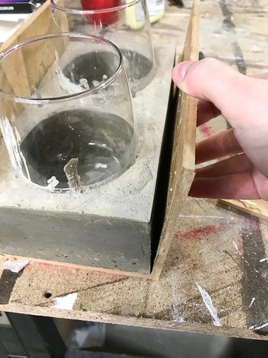 DIY Concrete Desk Organizer- remove all sides of the mold