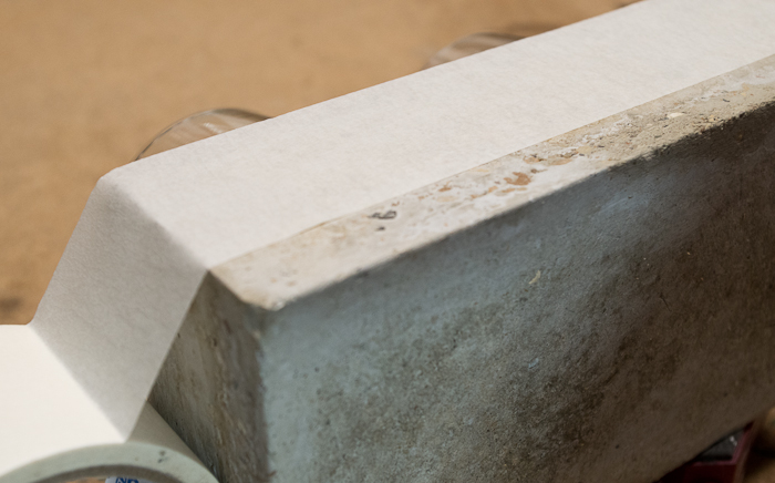 DIY Concrete Desk Organizer - use masking tape to mark where to paint