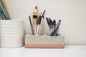 DIY Concrete Desk Organizer- finished photo horizontal