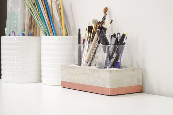 DIY Concrete Desk Organizer- finished photo from right side