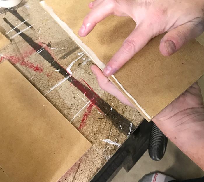 DIY Concrete Desk Organizer - use wood glue to assemble box mold