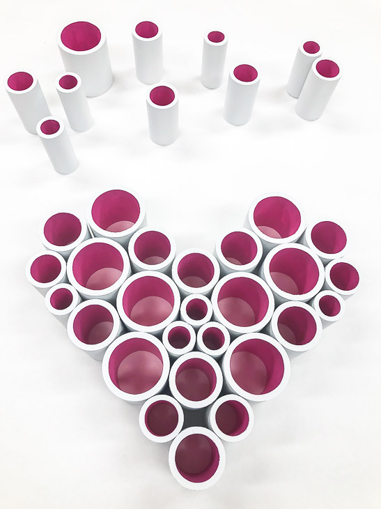 Play with the arrangement of PVC pipe until you form a heart!