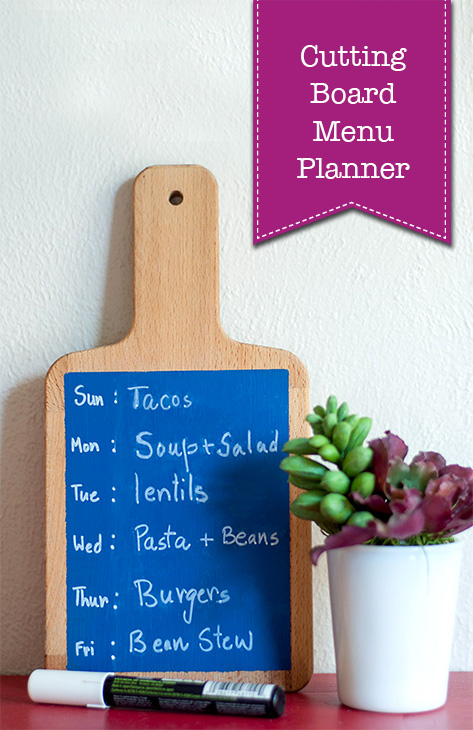 Simple Chalkboard Cutting Board Menu Planner | Pretty Handy Girl