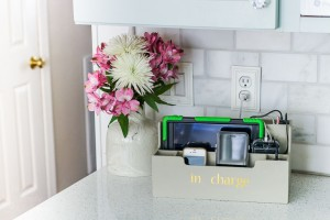 plugged in devices in desktop organizer charging station