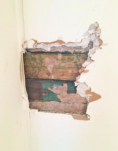 bead board peeking through drywall hole