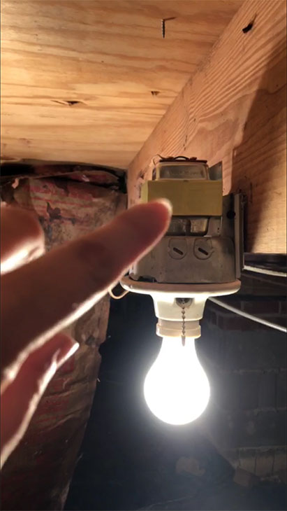 finding doorbell transformer on crawlspace light