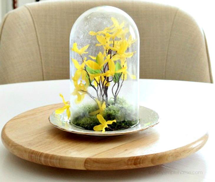 DIY Spring Decor Cloche table centerpiece
