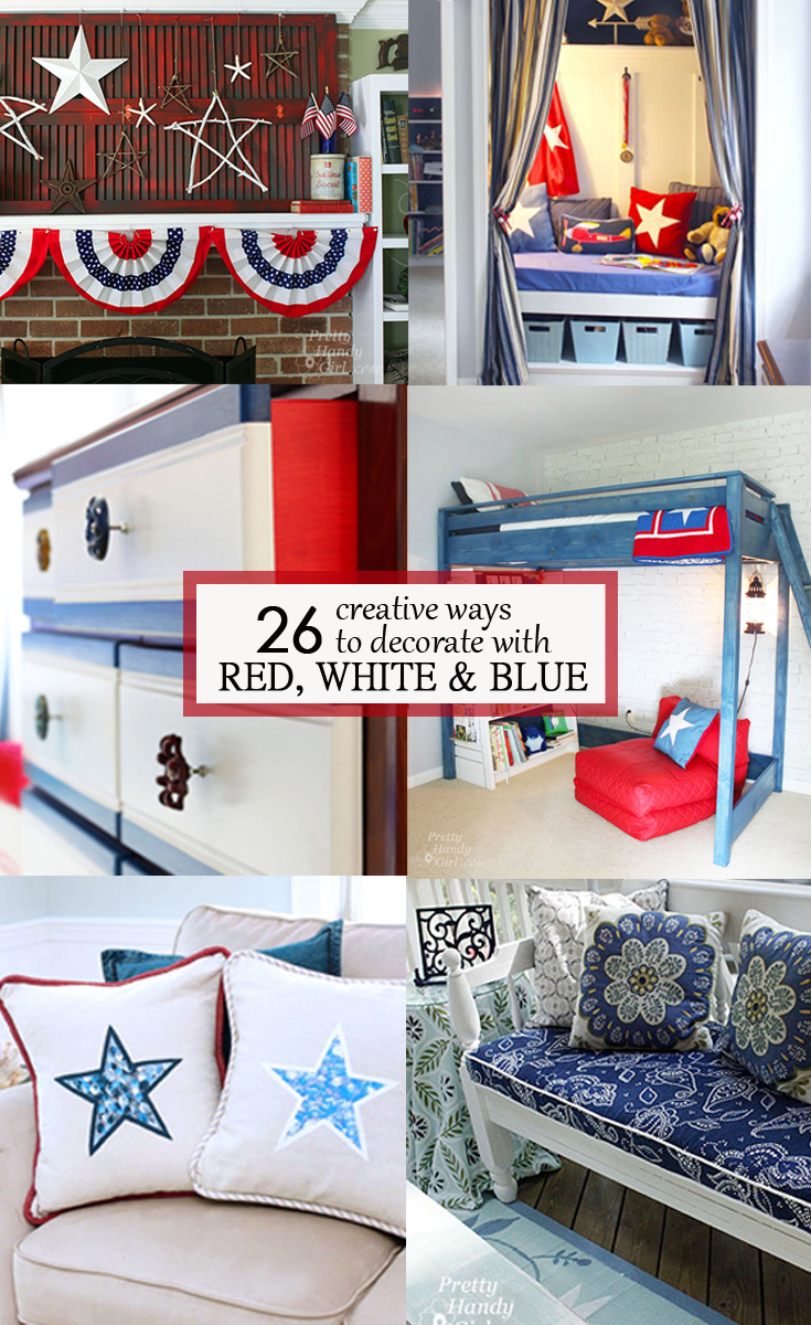 Check out these 26 creative ways to decorate with Red, White and Blue for some inspiration for bold and bright home decor.