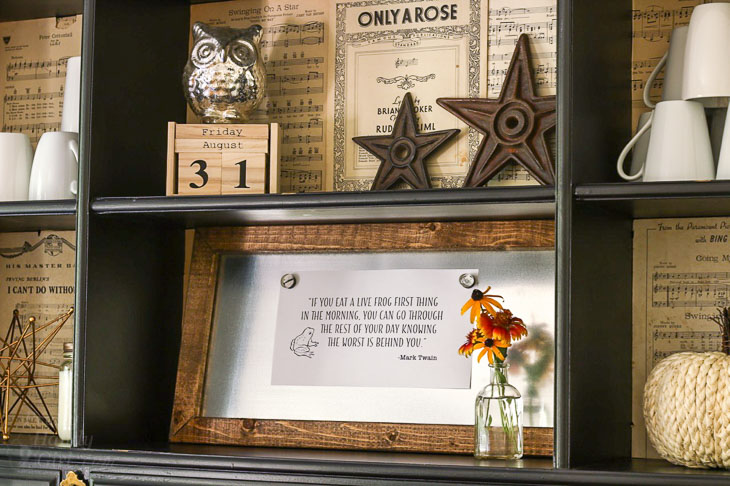 dining room hutch with mark twain eat the frog quote