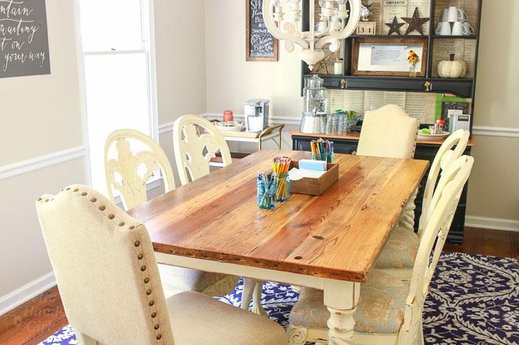 dining room makeover into homework station