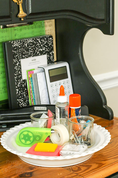 calculator notebooks and other office supplies for homework station