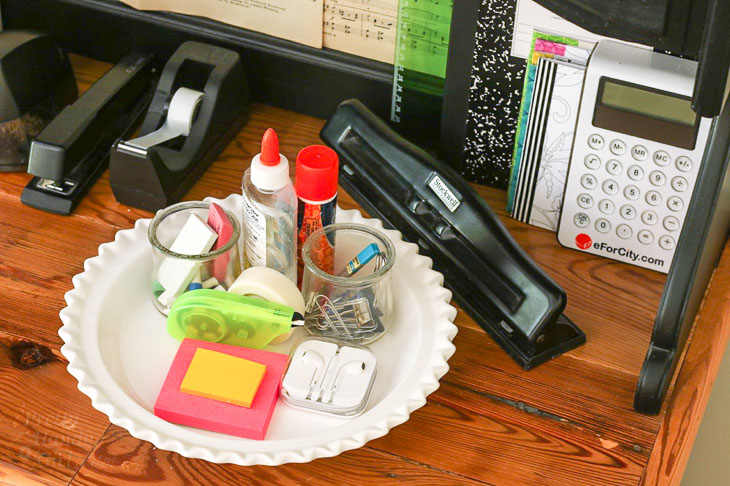 office supplies in pie dish