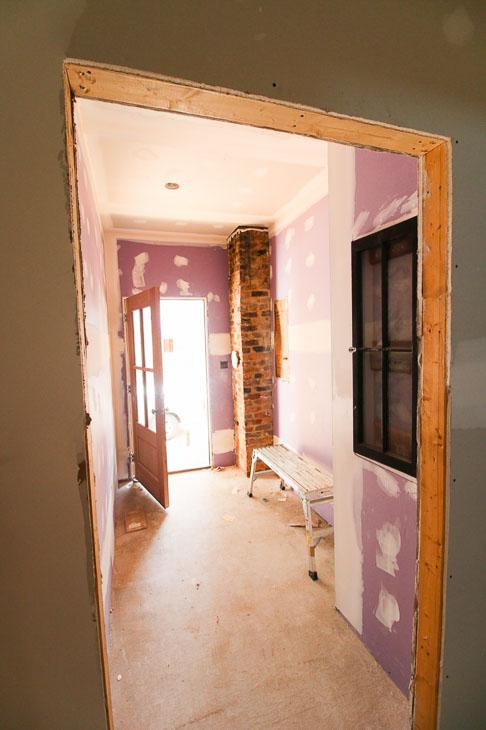 hi-abuse drywall in mudroom