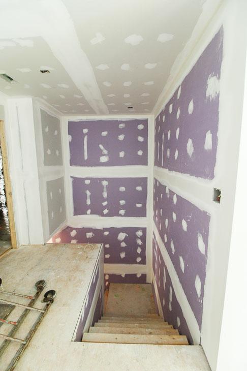 hi-Abuse drywall on stairway