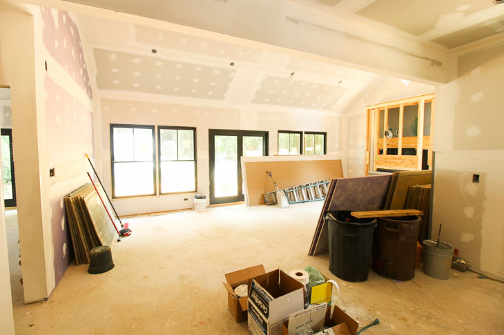 drywall installed in living room