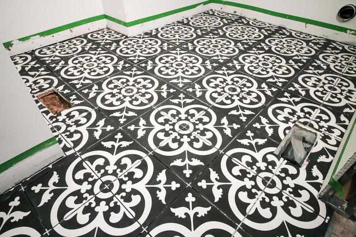 Black & White Avington Cement Tiles in Laundry Room