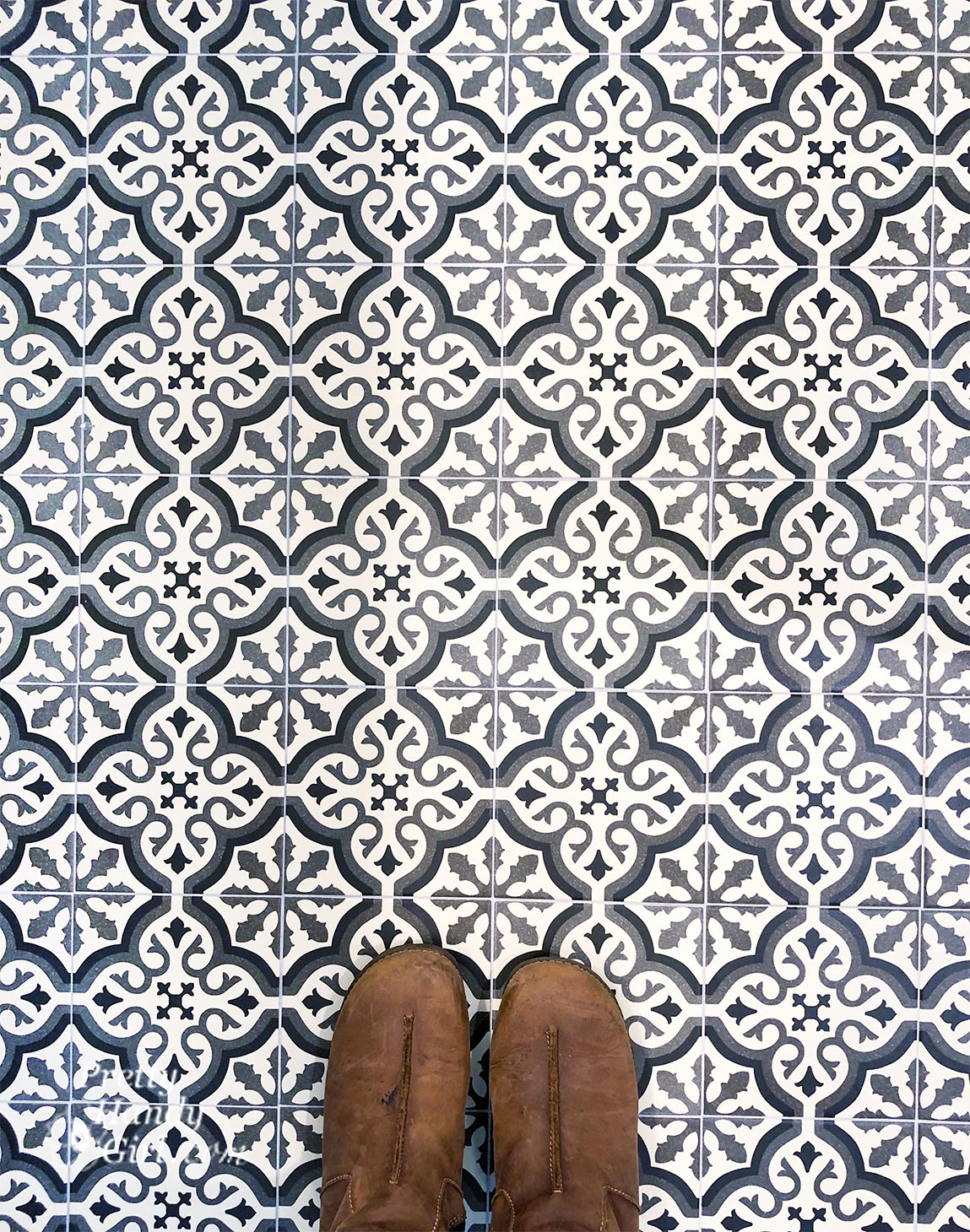Cement Tile Look Alike on Bathroom Floor