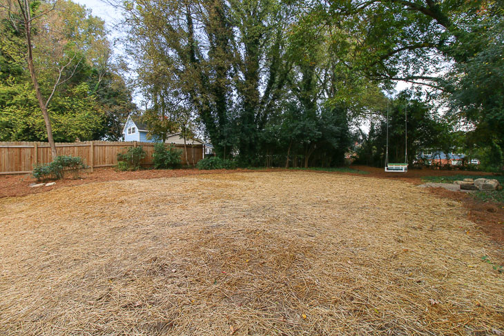 after view of backyard with straw and pine straw