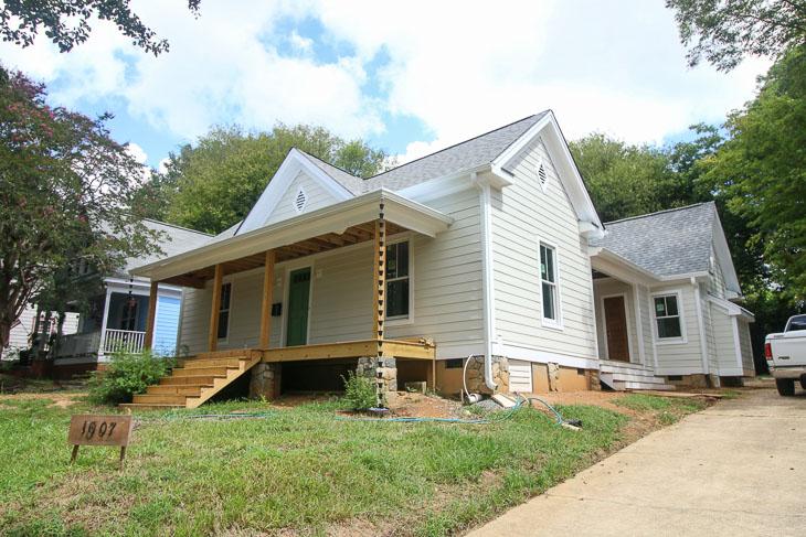 no landscaping, saving etta house under construction